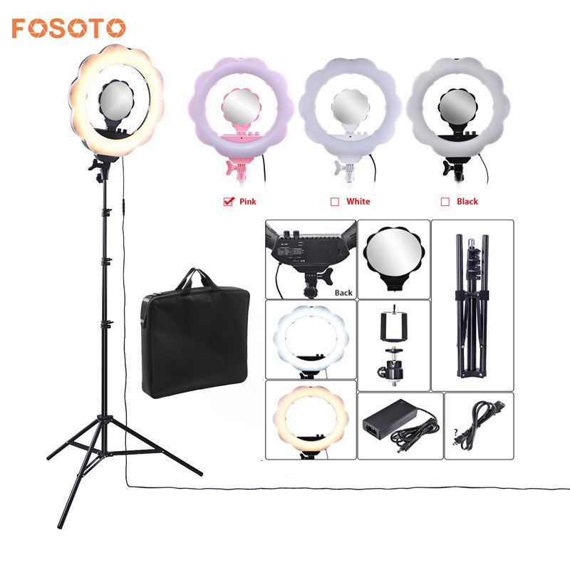 fosoto 18 3000K-6000K 384 Leds Photographic Lighting Dimmable Camera Photo Video Phone Ring Light Lamp&Tripod Stand Mirror bagfosoto 18 3000K-6000K 384 Leds Photographic Lighting Dimmable Camera Photo Video Phone Ring Light Lamp&Tripod Stand Mirror bag