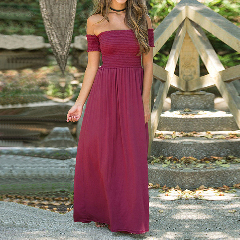Women Maxi Long Dress Summer Fashion Beach Wear Sexy Casual Off Shoulder Solid Elasticity Long Dresses Elegant For Girl Vacation