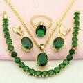 WPAITKYS Trendy Criado Verde Esmeralda Banhado A Ouro Conjunto de Jóias Para As Mulheres Brincos Colar de Pingente Anel Pulseira Caixa de Presente Livre