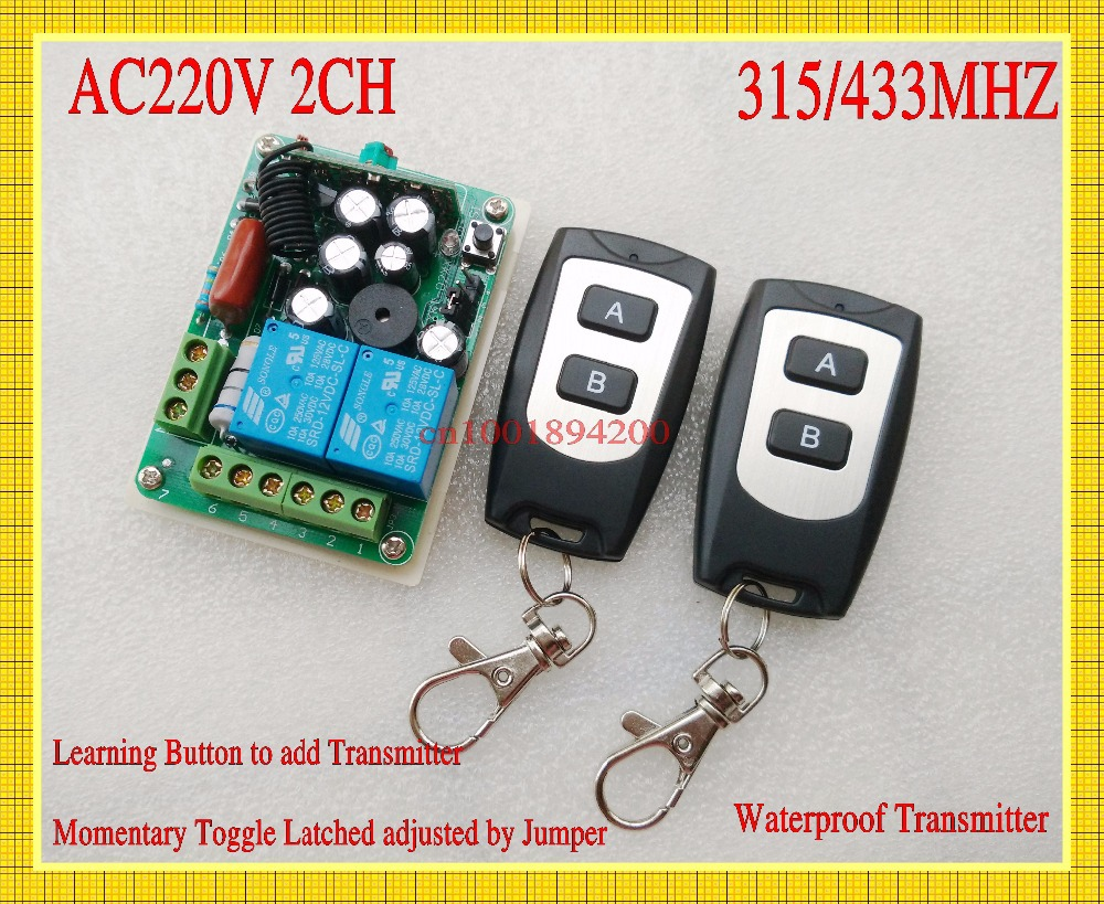 AC220V 2CH Remote Control Switch 10A Relay Receiver Transmitter Waterproof Light Lamp Bulb LED Remote Control RF Wireless Switch new ac220v 1 ch wireless remote control lighting switch 10a relay mini receiver and 2keys remote controller for lights