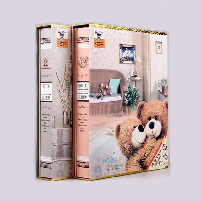 7 Inch Family Teddy Photo Album Scrapbook 200 Sheets Interleaf Type