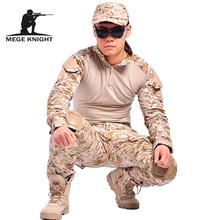 Kamuflaż taktyczna odzież militarna paintball wojskowe spodnie bojówki spodnie bojówki multicam militar spodnie taktyczne z ochraniacze na kolana tanie tanio MEGE KNIGHT Cargo pants Poliester COTTON Midweight tactical military Pełnej długości Mężczyźni Na co dzień Luźne