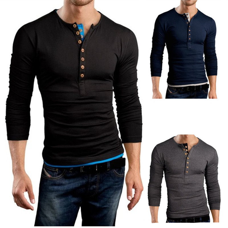 Men/'s Shirt Collarless Long Sleeve Henley Buttons Plain T-shirt 100/%Cotton Tops