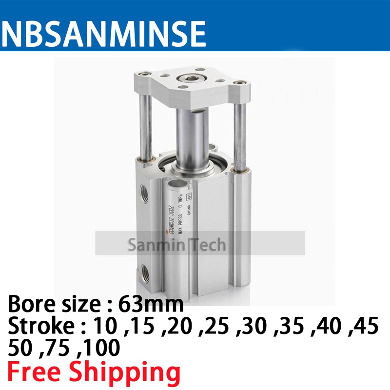 NBSANMINSE CDQMB63 Guide Rod Type Compact Cylinder CQM Series SMC Type Air Pneumatic Cylinder полновстраиваемая посудомоечная машина bosch spv 63 m 50 ru