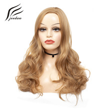 """jeedou Synthetic Long Natural Wave Hair Wig 26"""" 65cm 240g Light Brown Mix Color Side Part Hairstyle for White Women Girl's Wigs"""