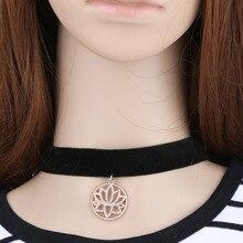 Океан ювелирные изделия колье черный веревку цепи кристалл «цветок лотоса» кулон ожерелье европейский изысканные заявление украшения для женщин