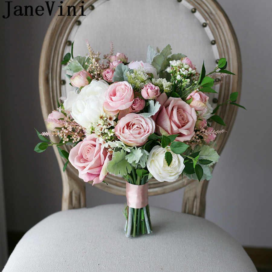 Janevini Artificial Blush Pink Bride Bouquet Rose Vintage White Peony Silk Flower Wedding Bouquets Fake Bridal Brooch Holder Wedding Bouquets Aliexpress