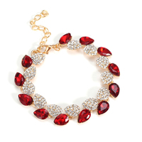 Fashion Gold Plated Crystal Glass Bracelet Female Have 6 Colors Alloy Bangles For Women Christmas Gift