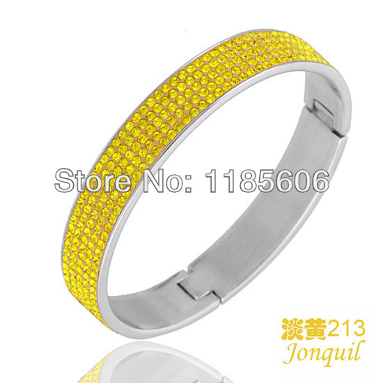 Korean fashion Stainless steel opening bangles & bracelets women charms Crystal jewelry Customized - CRYSTAL BEADS store