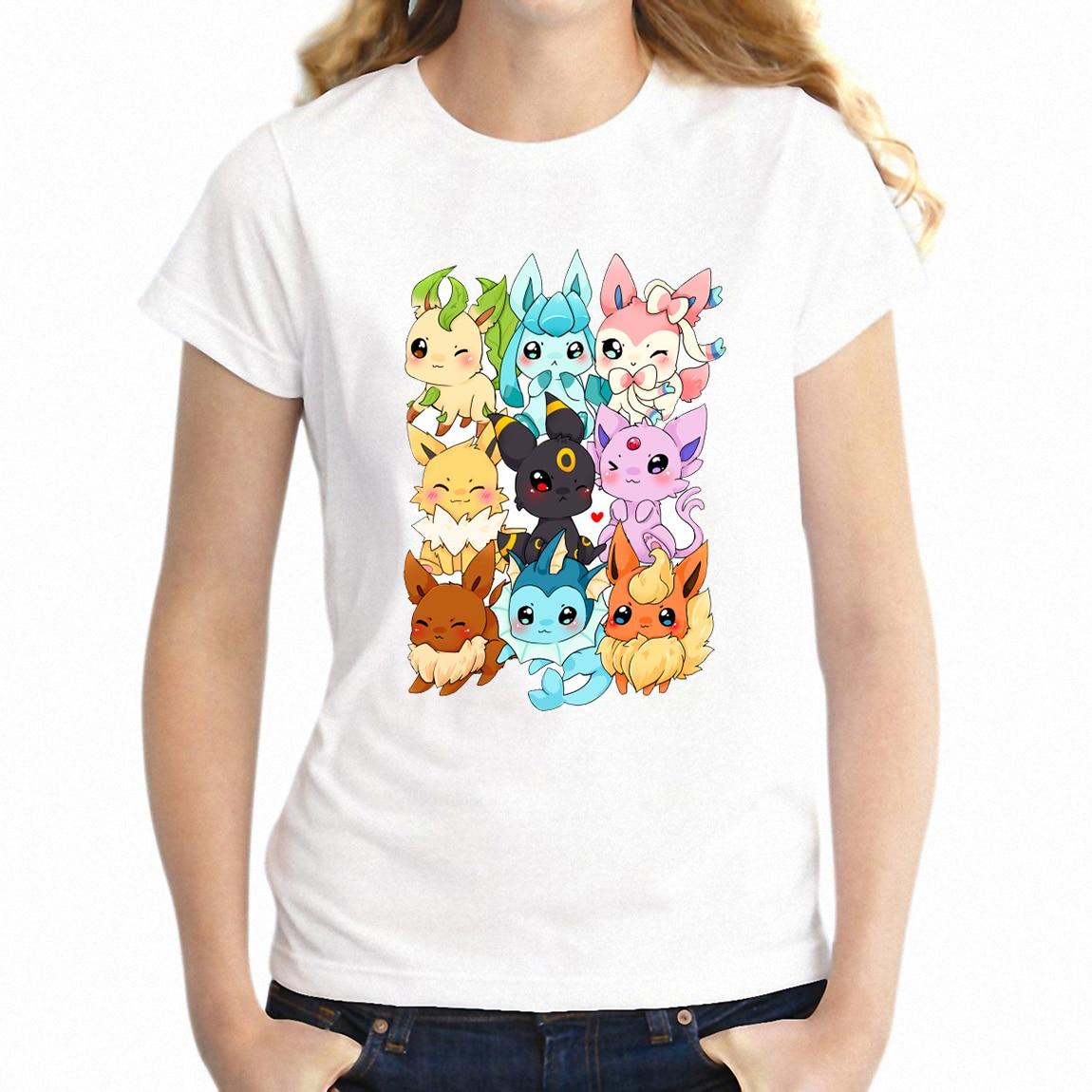 New Women's T-shirt Eevee Evolution Pokemon Gamer Girl's Short Sleeve Tshirt Harajuku Hip Hop Tees Tops