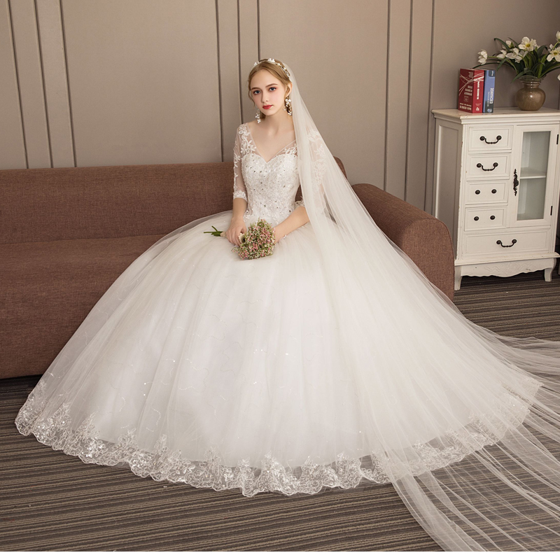 Ball Gowns Wedding Dress V Neck Princess Sleeves Plus Size New Style Self-cultivation Lace Up Wedding Dresses