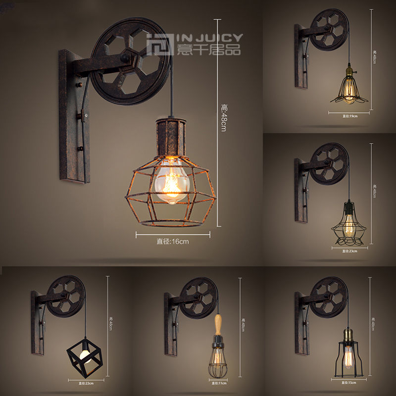 Vintage Industrial E27 LED Iron Wall Light Lifting Pulley Wall Lamp Loft Aisle Restaurant Bar Bedroom  Living Room Home Decor