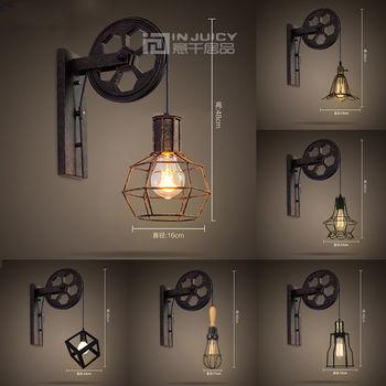 Vintage Industrial E27 LED Iron Wall Light Lifting Pulley Wall Lamp Loft Aisle Restaurant Bar Bedroom  Living Room Home Decor