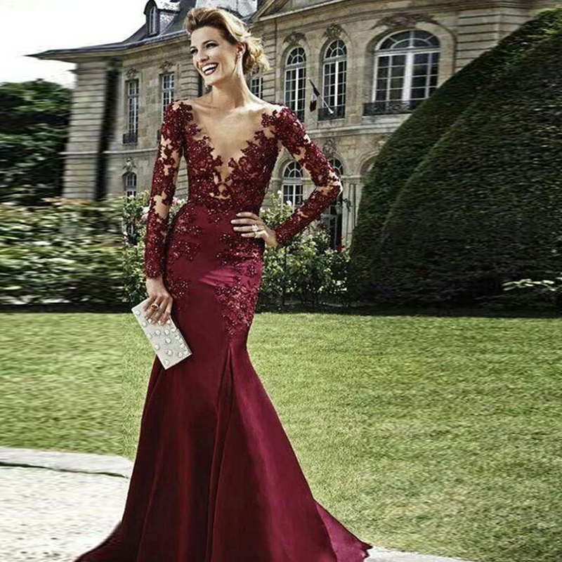 14bd6fab74 Elegant Mermaid V Neck Full Sleeves Appliques Long Evening Dresses Women  Gowns Special Occasion Dresses robe de soir Custom Made-in Evening Dresses  from ...