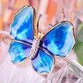 Blucome Requintado Эмаль Esmalte Бабочка Броши Позолоченные Blue Crystal Броши Шаль Хиджаб Булавки Платье Bruiloft Sieraden