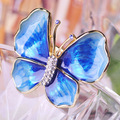 Blucome Requintado Enamel Esmalte Butterfly Brooches Gold Plated Blue Crystal Broches Shawl Hijab Pins Vestido Bruiloft Sieraden