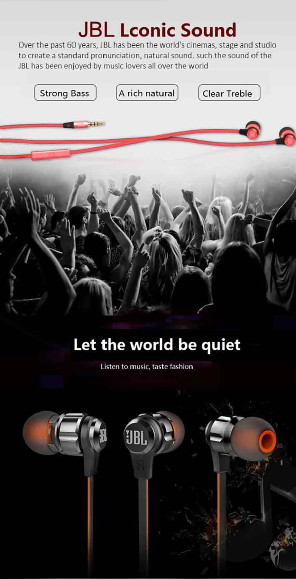 JBL T180A Stereo Earphone Running Sports Earbuds Handsfree Call with Mic Pure Deep Bass Game Music Headset for iPhone Android