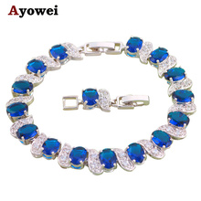 Блестящие хрустальные серебряные браслеты для женщин Темно-Синий Здоровье никель и свинец модные ювелирные изделия TB397A