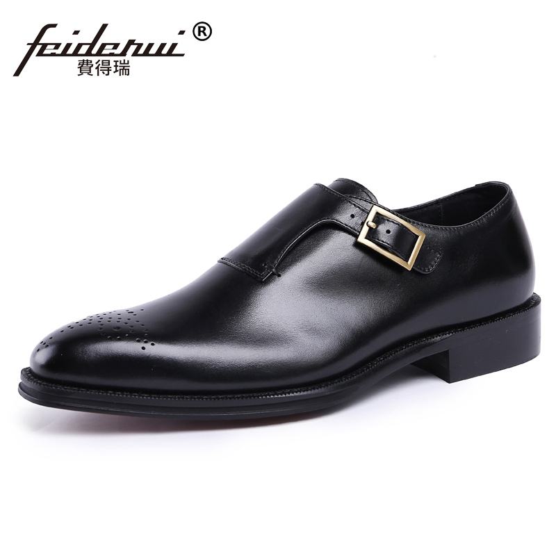 Luxury Italian Style Man Formal Dress Monk Strap Shoes Genuine Leather Male Carved Round Toe Men's Wedding Brogue Footwear JS33 luxury snake pattern patent leather men s monk strap formal dress footwear round toe handmade male casual shoes for man ymx411