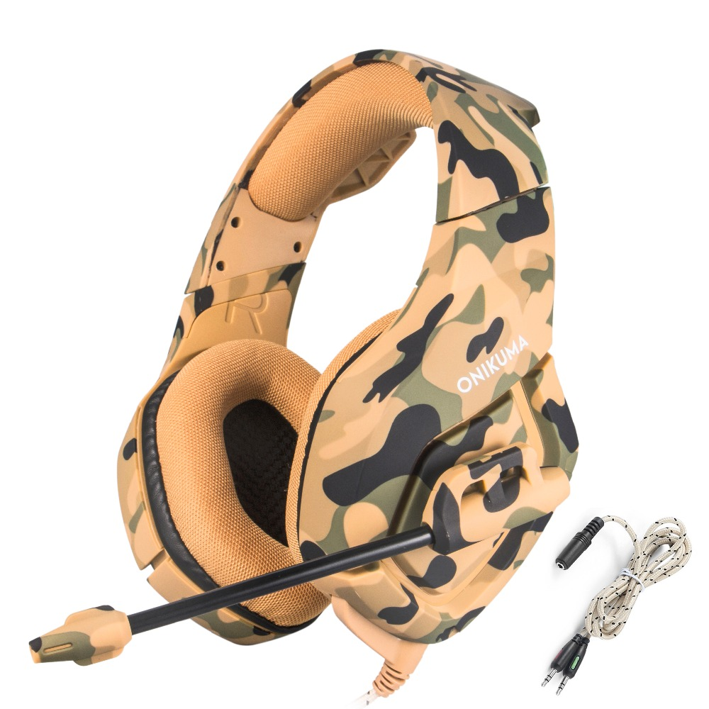 ONIKUMA Gaming Headphones Headset Camouflage PS4 Bass Game Earphones Casque with Mic for PC New Xbox One Tablet Mobile Phone