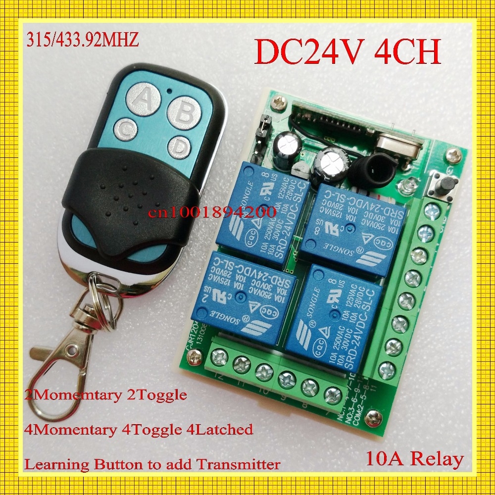 DC 24V 4CH Remote Switch 315/433MHZ RF Wireless Remote Control Learning Code 10A Receiver Transmitter ASK Smart Home RM2 RM-Pro new dc12v 10a mini 1ch rf wireless remote control 4 receiver 4 transmitter 315 433 mhz white black remote control with abcd key
