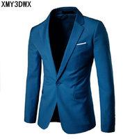 2019 Fashion Party Mens slim fit cotton blazer Suit Jacket black blue Gray plus size L 6XL Male blazers Mens coat Wedding dress