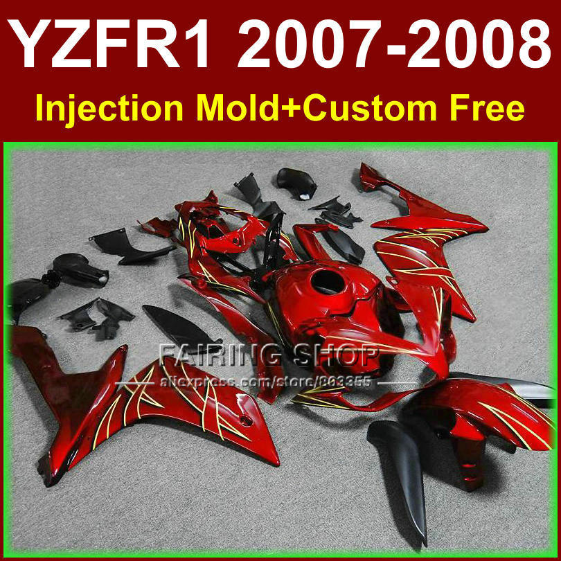 100% Injection molding red bodyworks for YAMAHA YZFR1 2007 2008 R1 fairing sets YZF R1 YZF1000 YZF 1000 07 08 fairings kits