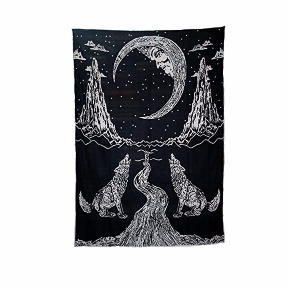 Indian Mandala Tapestry Aubusson Colored Printed Decor Wolf Moon Mountain Tapestry Religious Boho Yoga Wolf Blanket Plus Size