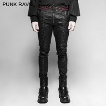 PUNK RAVE Mens Punk Rock Gothic Vampire Cosplay Pants Fashion Vintage Leather Heavey Metal Pencil Streetwear Hip Hop