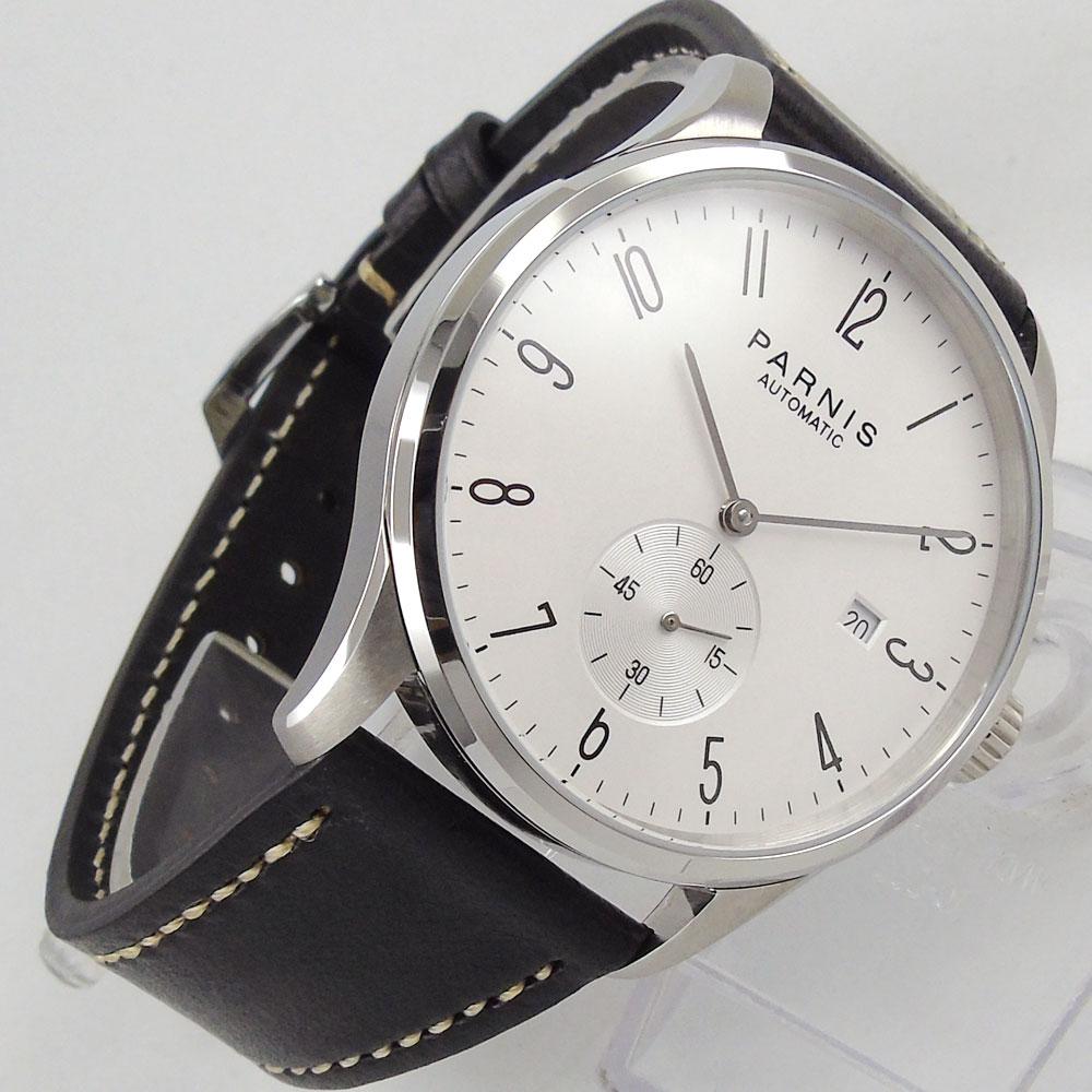 купить 42mm Parnis White dial Stainless Steel Case Complete Calendar leather Christmas gift ST 1730 Automatic movement Men's Watch по цене 6541.36 рублей