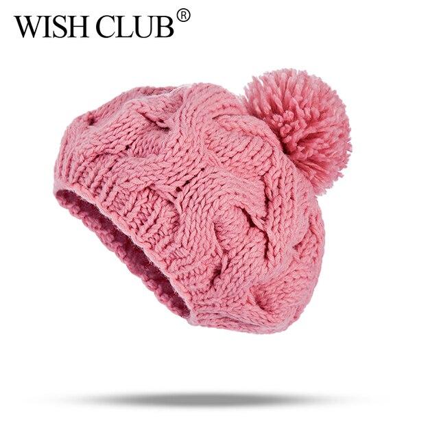 WISH CLUB Winter Women Hats Knitted Beanies Pom Pom Hat For Girl W