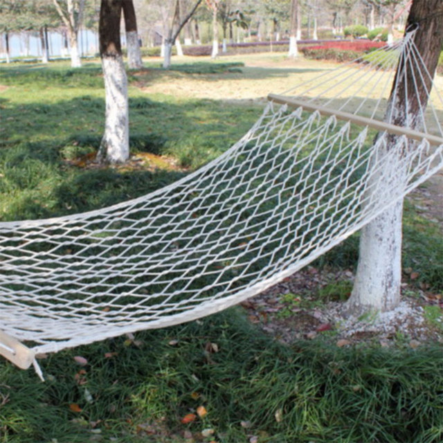 270X 80 A Single Mesh Cotton Wood Stick Rope Swing Hammock Indoor Double Net