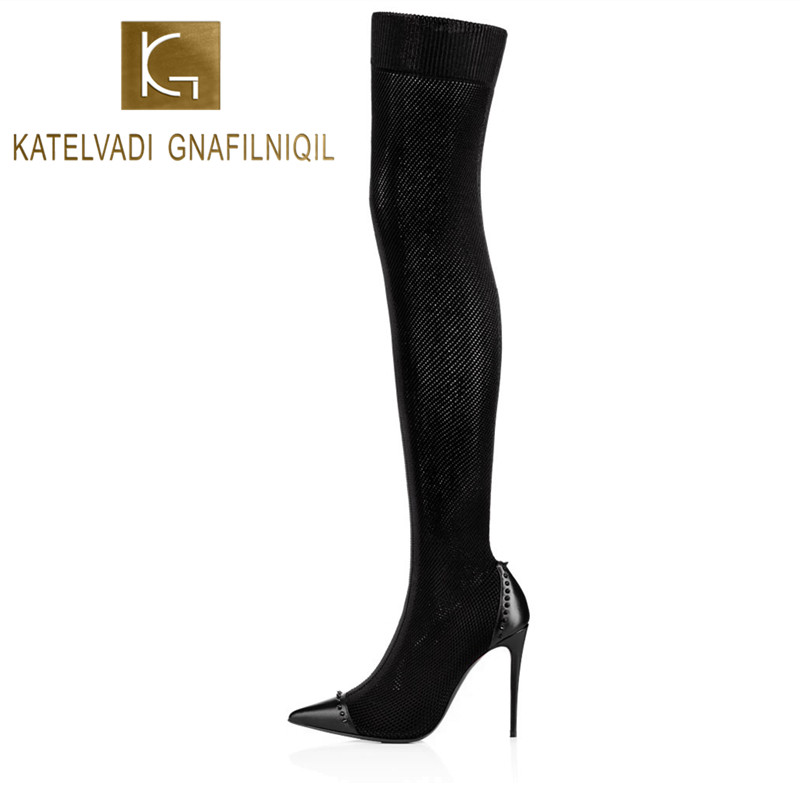 Women Rivets Boots Shoes Winter Thigh High Boots Sexy Stretch Over The Knee High Boots Black