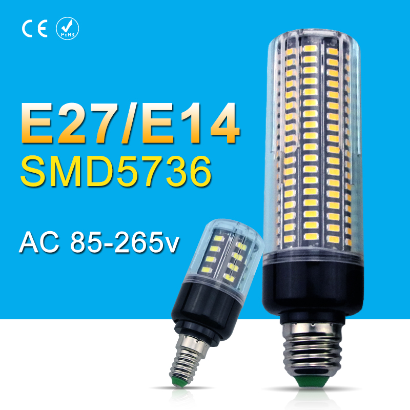 E27 Led Corn Bulb 220V SMD5736 Led Light 28 40 72 108 132 156 189leds Led Lamp AC85-265V Chandelier Lighting for Home Decoration
