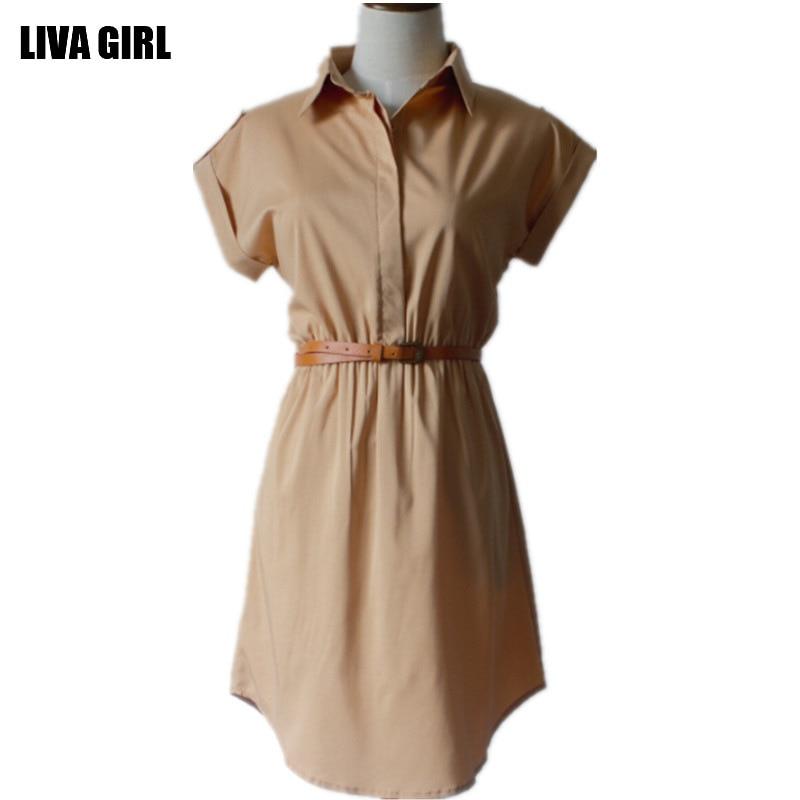 cfd08dd95ef0 La moda de nueva para mujer tallas grandes camisa de vestir de solapa  elegante vestido de cuello vestidos con cinturones 1141 en Vestidos de Ropa de  mujer ...