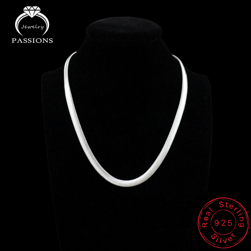 2018 Fashion Hot Sale Punk Collar Necklace 925 Silver Plate Simple Design Clavicle Flat Snake Chains