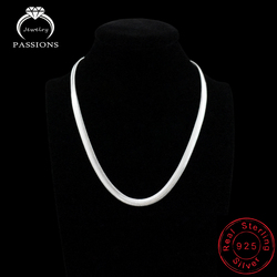 2018 Fashion Hot Sale Punk Collar Necklace 925 Silver Plate Simple Design Clavicle Flat Snake Chains Necklace For Women Jewelry
