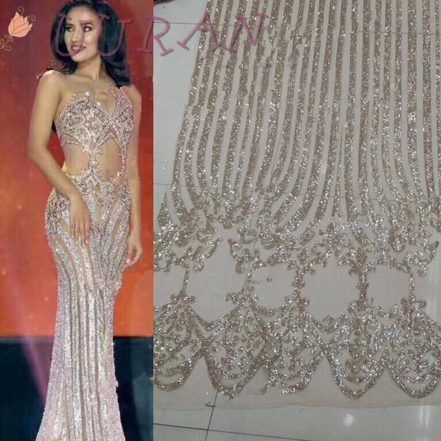 Net Materials 2017 High Quality Silver Gold Nigerian French Lace Fabrics  with glitter Indian Mesh Lace Fabric For Party Dress d65a0f47fa43
