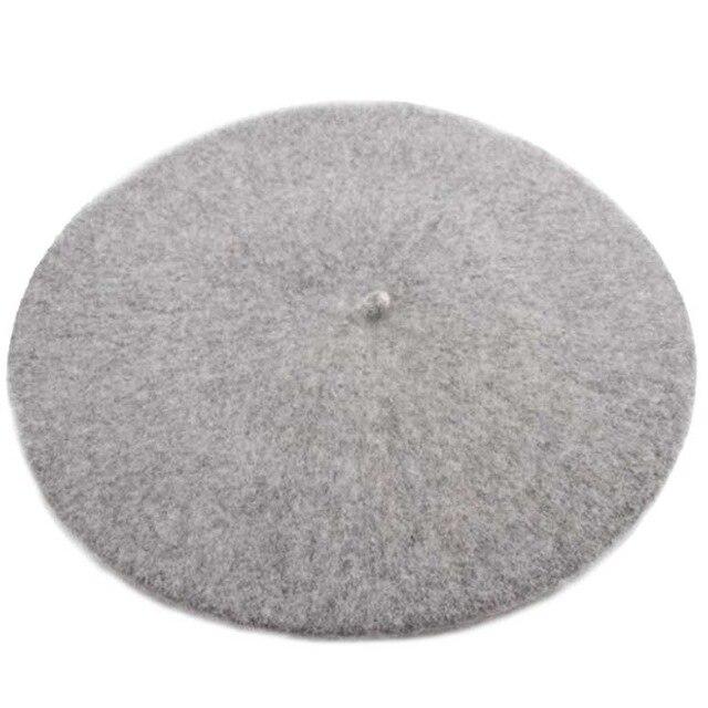 Берет художника, уличные шапки художника, осень и зима, новые теплые вязаные однотонные кепки, модный мех енота, помпон, берет в стиле винтаж - Цвет: Gray