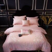 Роскошный Египетский хлопок постельных принадлежностей розовый Вышивка наборы Сатин пододеяльник Oriental Винтажный стиль 4/7 шт. постельное б