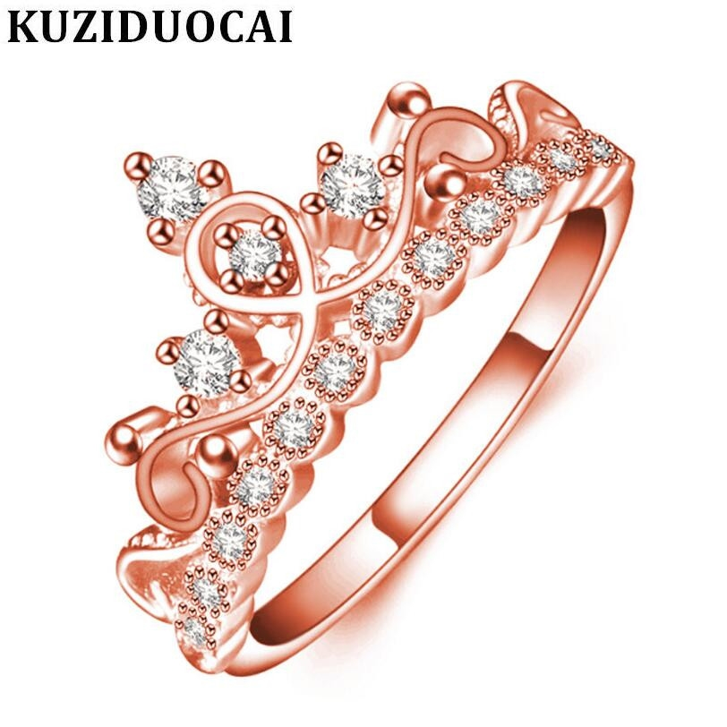 Kuziduocai New Fashion Jewelry Stainless Steel Zircon Rose Gold Crown Wedding Rings For Women Gifts Anillo Anel Bague Punk R-211