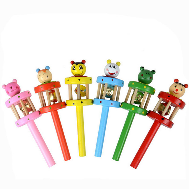 Baby Toy Cartoon Animal Wooden Handbell Musical Developmental Instrument toys for baby kids