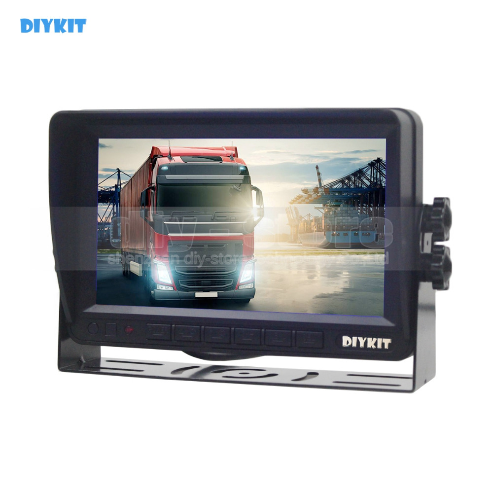 DIYKIT AHD 7inch TFT LCD Car Monitor Rear View Monitor Support 2000000 Pixels AHD Camera 2 x Video Input 12V-24V DC diysecur 4pin dc12v 24v 7 inch 4 split quad lcd screen display rear view video security monitor for car truck bus cctv camera
