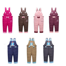 Children duck down winter pants thickening autumn and winter boys and girls down cargo/bib pants warm trousers unisex 0-4 years