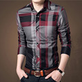 2016 Long Sleeve Fashion Mens Shirts Slim Fit Man Plaid Dress Shirts Vestidos Chemise Homme Camisa Masculina Hombre Social 5XL