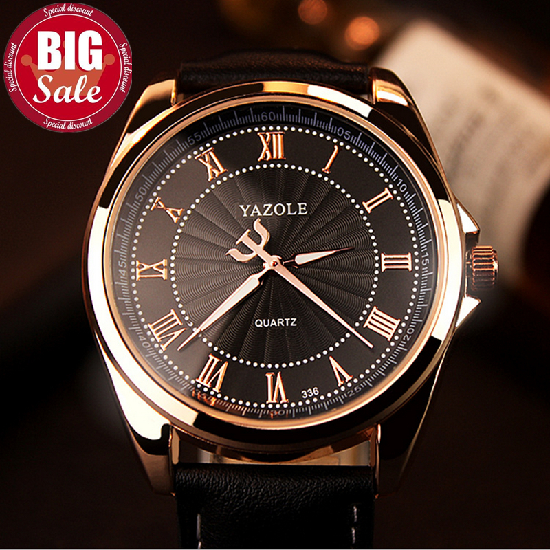 YAZOLE Fashion Watch men Top Brand Luxury Casual Male Clock Quartz-watch Business Rose Gold Black Reloj Hombre Relogio Masculino mens watch top luxury brand fashion hollow clock male casual sport wristwatch men pirate skull style quartz watch reloj homber