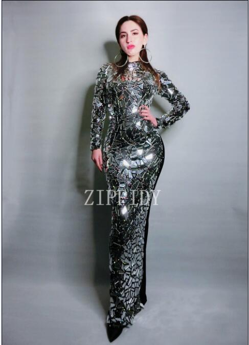 2019 brillant nouveau Design lumineux plein miroirs longue robe femmes robe noire strass Costume célébrer robe
