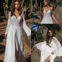 Tingfly Vintage European Middle Ages Style Long White Dress Party Dresses Strap Dress+Cardigan Two Piece Set Sexy Backless Dress
