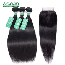 Brazilian Straight Hair Bundles With Closure Human Hair 3 Bundles Deals With Lace Closure Non-Remy Extension Natural Black