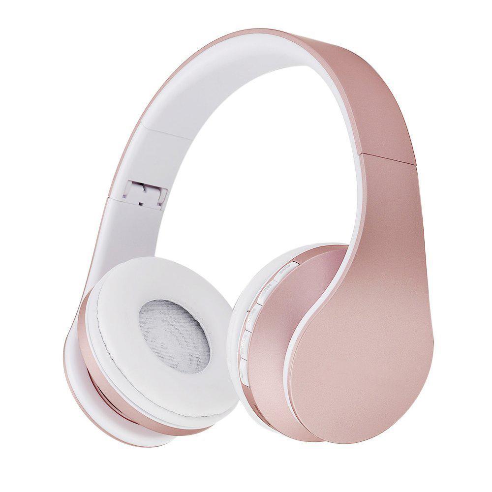 Rose Gold Wireless Bluetooth Earphones Stereo Foldable Headphones Over Ear Headset FM Radio TF Card With Microphone For Phone